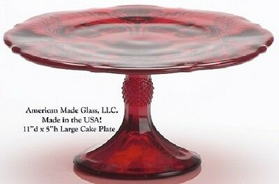 Red Glass Inverted Thistle Pattern Large Cake Plate - Mosser USA
