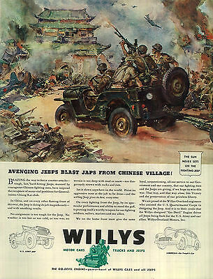 1943 Willys Jeep Ad Avenging Jeep Blast J*** from Chinese Village! 4303
