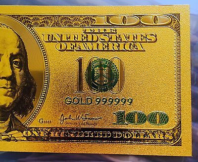 America USA $100 Banknote 24k GOLD 99.9 One Hundred Dollars Colourised Colour 3D