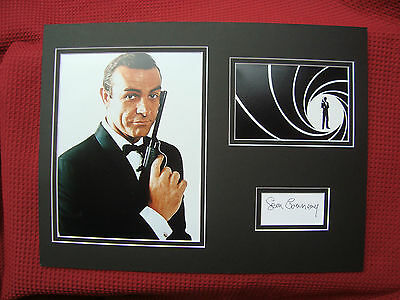 SEAN CONNERY *JAMES BOND 007* HAND SIGNED A3 MOUNTED CARD w/PHOTO'S DISPLAY- COA