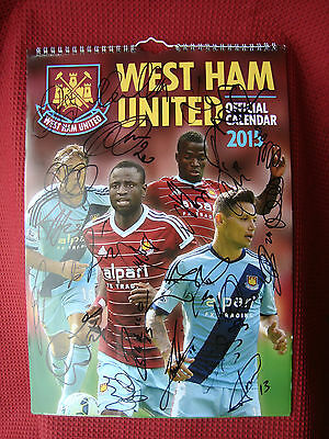 WEST HAM UNITED - HAMMERS 23 HAND SIGNED 2014-15 CALENDAR 30cm x 42cm PHOTO -COA