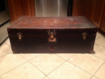 LOUIS VUITTON Antique LEATHER Travel Steamer Trunk On Wheels RARE SIZE Chest LV