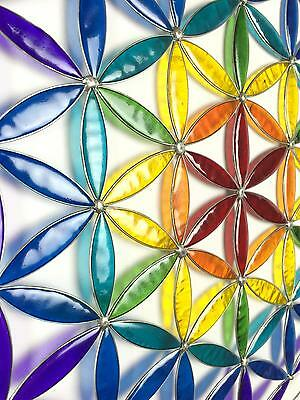 Rainbow Chakra Colour The Flower of Life Symbol Sun Catcher Resin Hanging Mobile