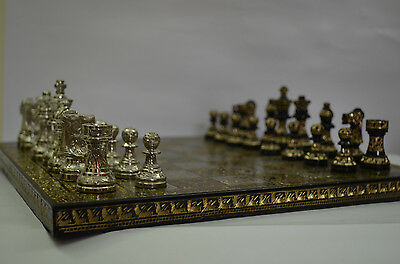 Brass Metal chess pieces set with board  ARTISTIC  HAND CARVED GOLDEN & SILVER
