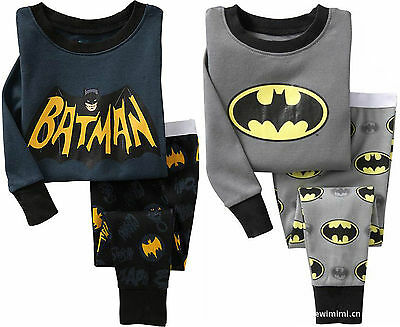 HOT! BATMAN Cotton Sleepwear Pajama Sets for Baby Toddler Kids Boys Size 1T~6T