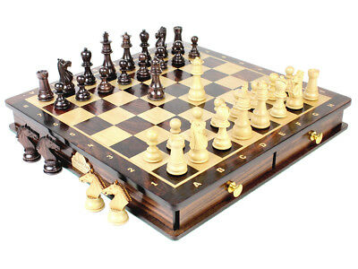 """Wooden Chess Set Pieces Rose wood Galaxy Staunton King Size 3"""" with Board / Box"""