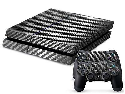 Black Carbon Fiber Vinyl Skin Sticker Decal For Sony PS4 Playstation 4