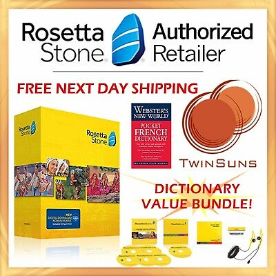 Rosetta Stone® FRENCH 1 2 3 4 5 HOMESCHOOL SET +AUDIO CDs +HEADSET + DICTIONARY!