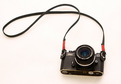 Windmup Red top 10mm black leather handmade Camera strap