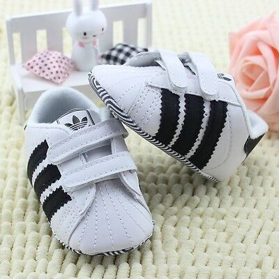 White Baby Shoes Soft Sole Baby Boys Girls Sneakers Shoe 6-9 Months