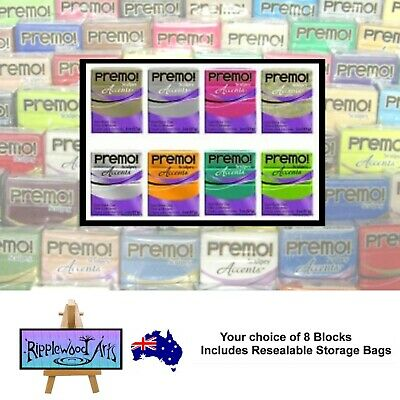 Sculpey PREMO Polymer Clay - Your Choice of 8 x 57gm Blocks + Free Storage Bags