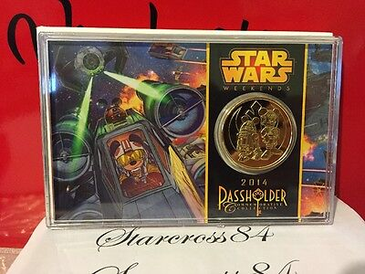 Disney Star Wars Weekends Passholder 39MM 24KT Gold Plated Coin LE 3000