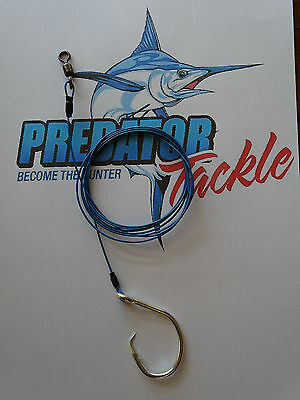 2x   Shark rig 98kg [215 lb] coated 316 s/s49 strand wire 14/0 circle hook
