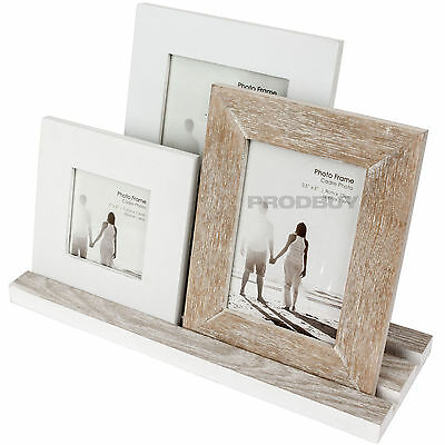 Triple 3 Photo Free-Standing Wooden Multi Picture Frame Shabby Chic Rustic Decor
