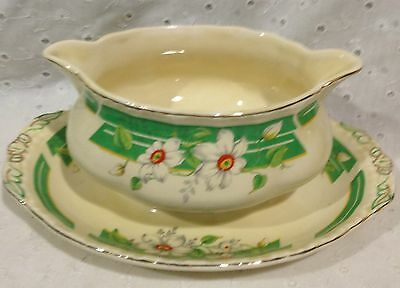 Grindley Gravy Boat with Attached Underplate Green Orange the Clematis Pattern