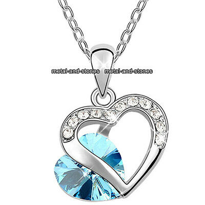 Unique Blue Crystal Diamond Necklace Xmas Present Love Heart Gift For Her Women