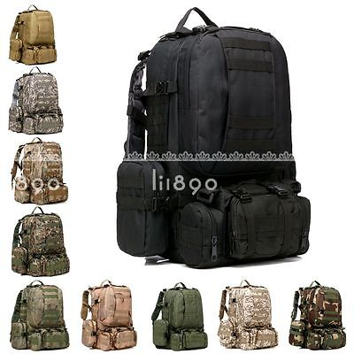 50L Tactical Outdoor Molle Assault Military Rucksacks Backpack Camping Bag UK