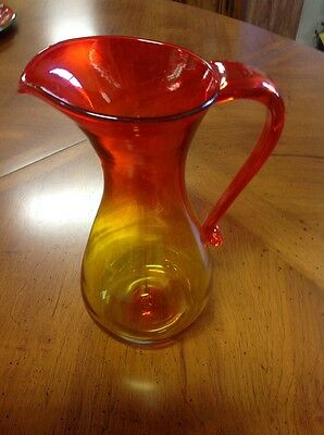 Vintage Blenko AMBERINA Glass Pitcher Bottle Mid Century Modern