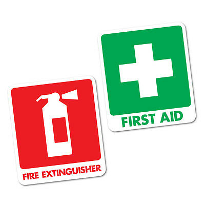 First Aid & Fire Extinguisher Sticker  95x111mm OHS #5473K
