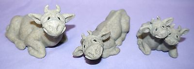 3 Quarry Critters Cow Figurines, Casey, Cory, Cherry & Chip, cows figure