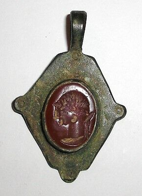 Ancient Roman Empire, 300 AD. Bronze Carnelian Seal Pendant, Red Intaglio Stone