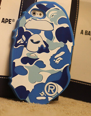 Blue 3D Bathing Ape BAPE head Silicon for iPHONE 5 5S SOFT CASE COVER