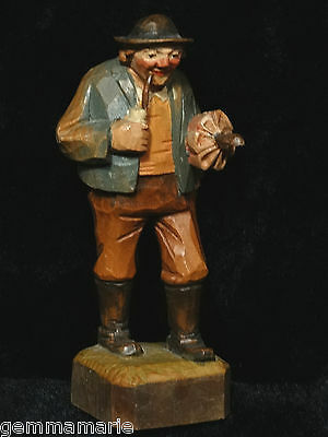 Anri old Italian folk art wood carved Figurine Statue of Man with Pipe