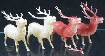 Lot of 4 Vintage 1930's Celluloid Reindeer USA