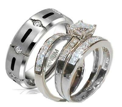 His and Hers Wedding Rings 4 Piece Cz Ring Set 925 Sterling Silver & Titanium