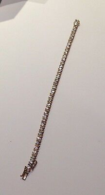 Sterling Silver Gold Plated CZ / Cubic Zirconia Bracelet With Triple Safety Lock