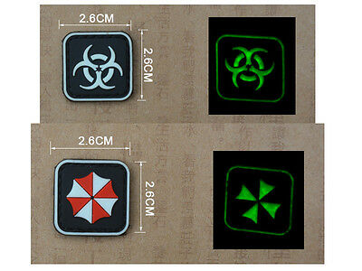 3PCS Resident Evil Biohazard Umbrella Corporation Glow PVC Velcro Patch Badge