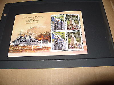 * AUSTRALIA MINT STAMP MINIATURE SHEET HONOURING DISCOVERY OF HMAS SYDNEY
