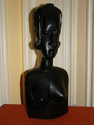 """Vintage Hand Carved Solid Wood African Woman Bust Sculpture - Statue 13 1/2""""Tall"""