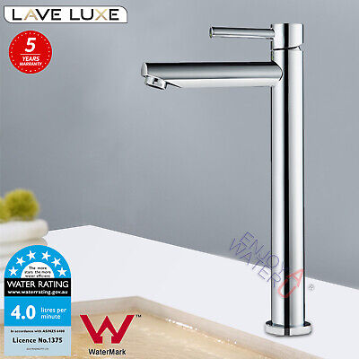 Watermark Brass Tall Round Basin Mixer Spout Bench top Tap Vanity Chrome Faucet