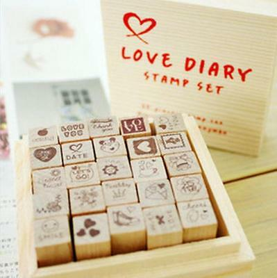 Lot of 25 Love Dairy Kid Party Birthday Wood Mounted Rubber Stamp Box Set