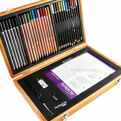 Derwent Academy Artists Watercolour Pencil Drawing Wooden Storage Box Set Case
