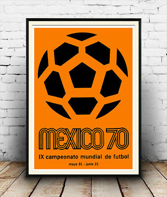 Mexico World cup 1970 ,  Vintage football  advertising  Poster reproduction.