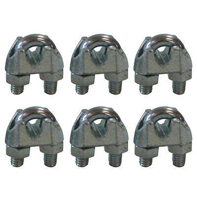 West Coast Wire Rope CPML014 Galvanized Steel 1/4-inch Cable Clamp Clip, 6-Pack