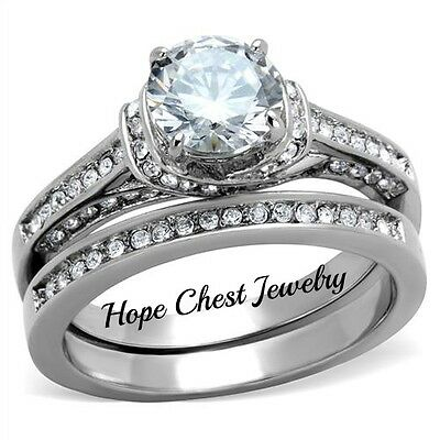 HCJ WOMEN/'S STAINLESS STEEL 0.62 CT AAA CZ ENGAGEMENT /& WEDDING RING SET SIZE 10