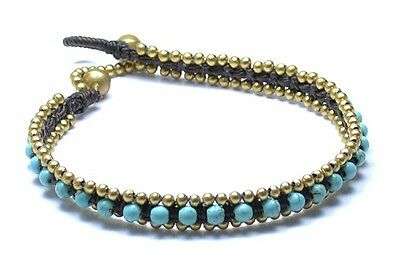 Handmade Anklet, Ankle chain with Turquoise stones, Made in Chiang Mai