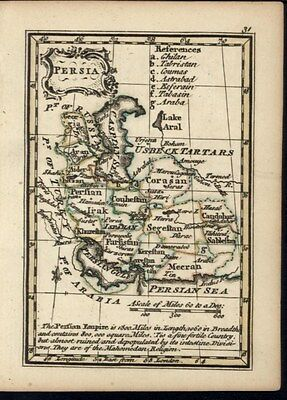 Persia Iran Middle East 1748 Gibson Bowen miniature antique map old hand color