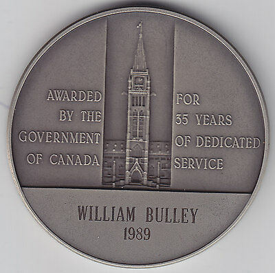 Service Silver Medal Awarded by Government of Canada 1989 to William Bulley