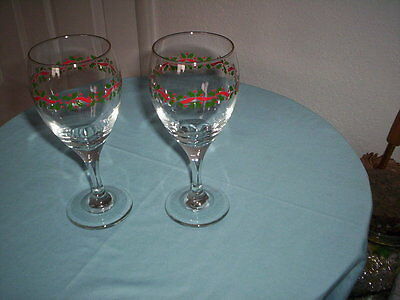 "2 Arby's Christmas Stemmed Water Goblets or Wine Glasses - 2 7/8"" x 7 1/2"" tall"