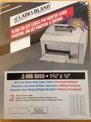 """LabelBlank 8000 Blank Labels 1.75"""" X 0.5""""  Bright White Laser Labels  Z-MB-9050"""