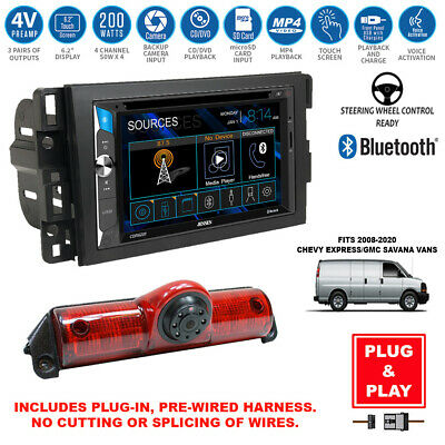 Double DIN Touchscreen USB Radio+Backup Camera+Chevy Express Savana Van Dash Kit