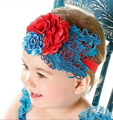 Christmas Baby vintage Feather Pad prop 100% headband flower hair band color TS6