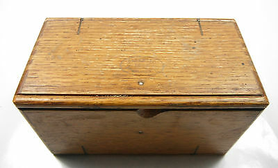 ANTIQUE OAK WOOD PUZZLE BOX FROM SINGER SEWING MACHINE & ATTACHMENTS 1889 PATENT