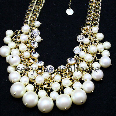 Cute Jewellery Necklaces Pendants Sparkle Pearl White Chain Chic Faux Crystal