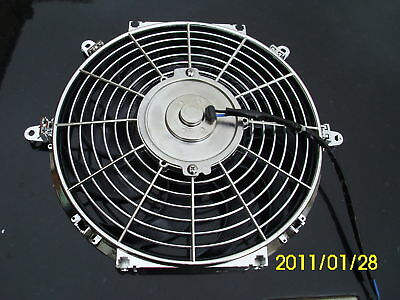 12 INCH LOW PROFILE CHROME HIGH PERFORMANCE THERMO FAN f1