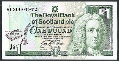 Scotland GEM Unc P-358 3.12.1994 1 Pound Low / Birth year Serial 1972